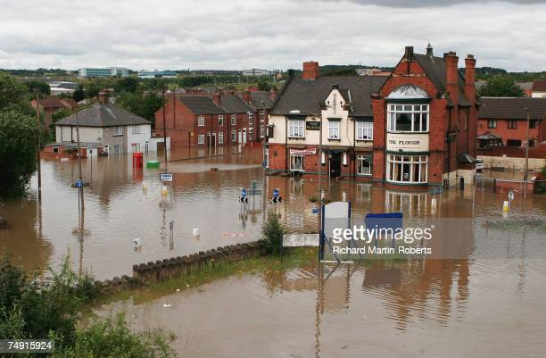 A view of submerged streets following flooding in the Catcliffe area of Rotherham half a mile from the cracked Ulley Dam on June 26 2007 in Rotherham...