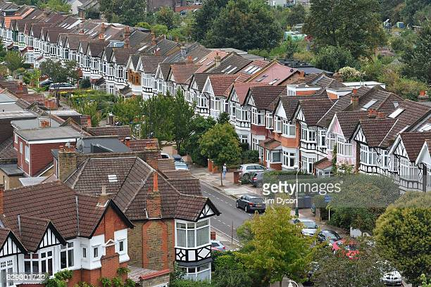A view of suburban housing along a street in Ealing on September 17 2016 in London England Ealing is popularly known as 'Queen of the Suburbs'
