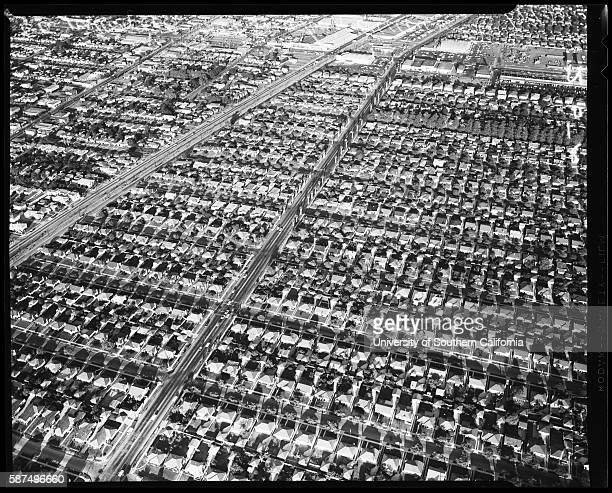 View of suburban Los Angeles tract homes from the air