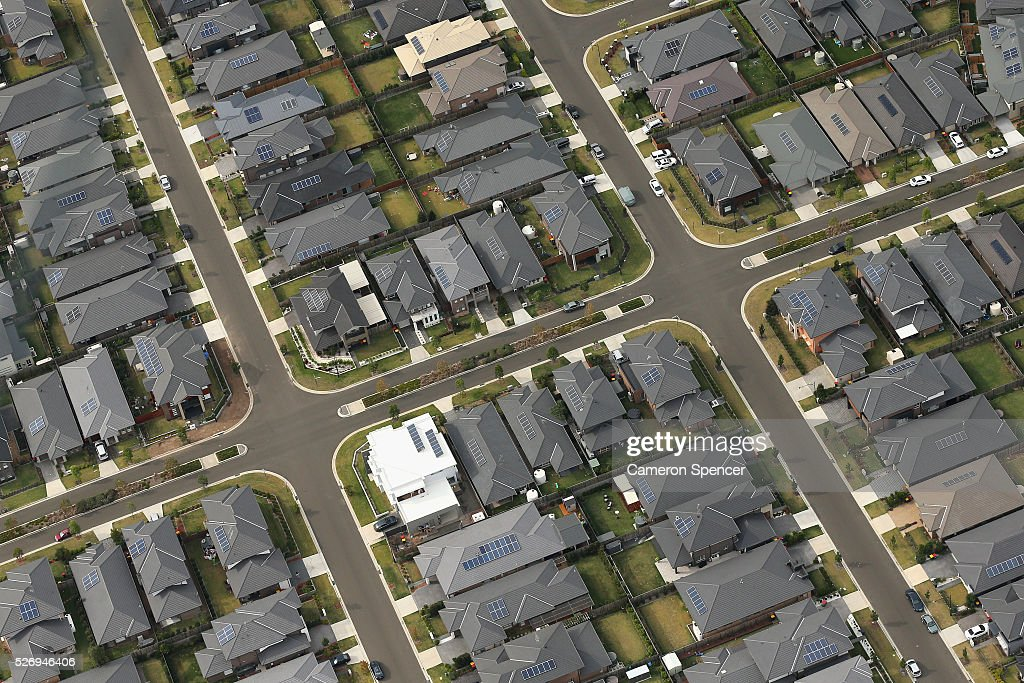 A view of suburban streets from a blimp on April 28, 2016 in Sydney, Australia. The Appliances Online blimp is the only operational blimp in the Southern Hemisphere flying all over Australia. It is currently based in Sydney navigating a variety of routes across the city and down the Eastern coastline.