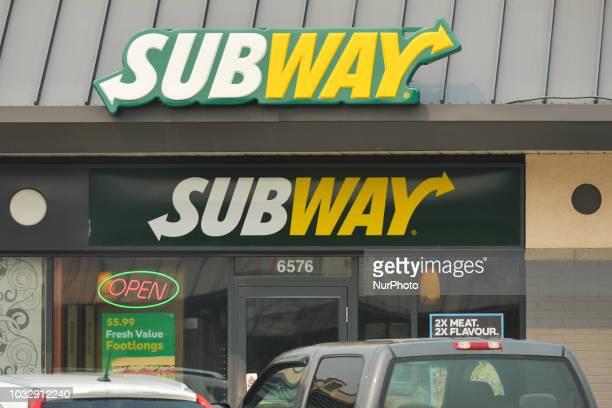 View of Subway logo in Edmonton's downtown. On Tuesday, September 11 in Edmonton, Alberta, Canada.