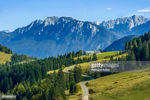 View of Sudelfeld in Mangfall mountains, behind Mountain Front Kesselschneid, Zahmer Kaiser, to the right Wilder Kaiser, Kaiser Mountains, Alps, Tyrol, Upper Bavaria, Bavaria, Germany