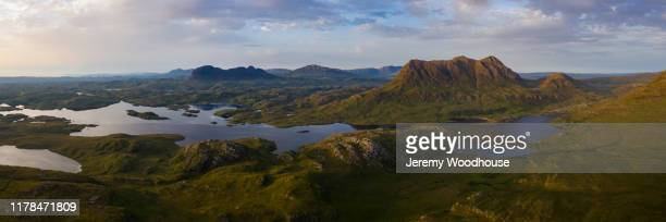 view of suilven and canisp from stac pollaidh - wester ross stock pictures, royalty-free photos & images