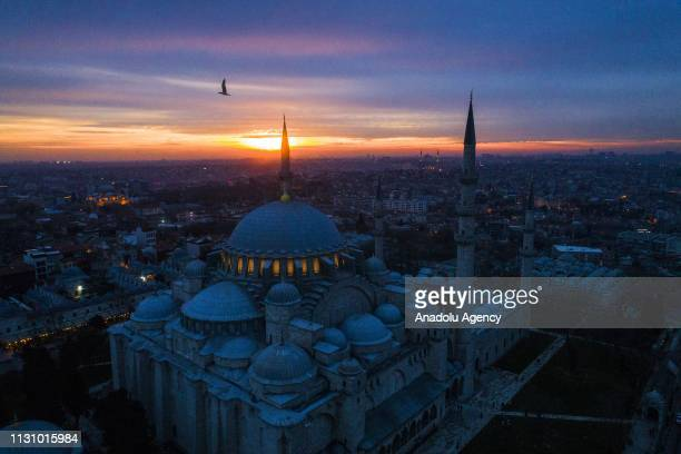 A view of Suleymaniye Mosque during sunset in Istanbul Turkey on March 16 2019
