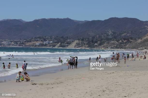 View of sunbathers and swimmers on Santa Monica Beach Santa Monica California July 22 2014