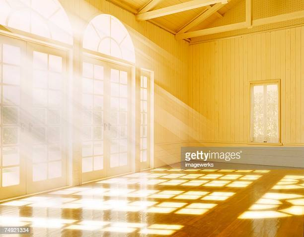 View of sunlight through closed doors