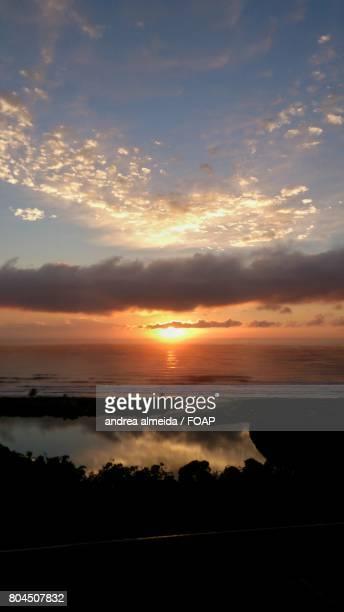 View of sunrise at sea, Santa Catarina, Brazil