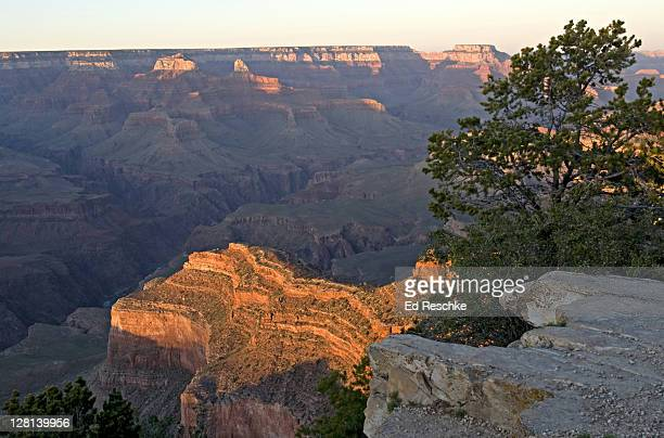 View of sunset at South Rim from Hopi Point (also on South Rim), with North Rim in background, Grand Canyon, northern Arizona, USA