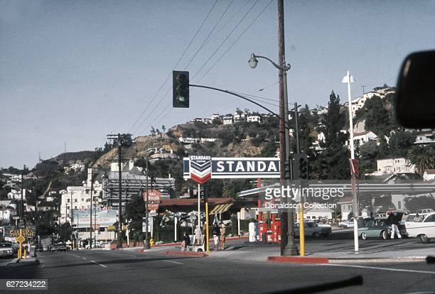 A view of Sunset Boulevard looking west from the intersection of Sunset and Crescent Heights Boulevard in December 1963 in Los Angeles California
