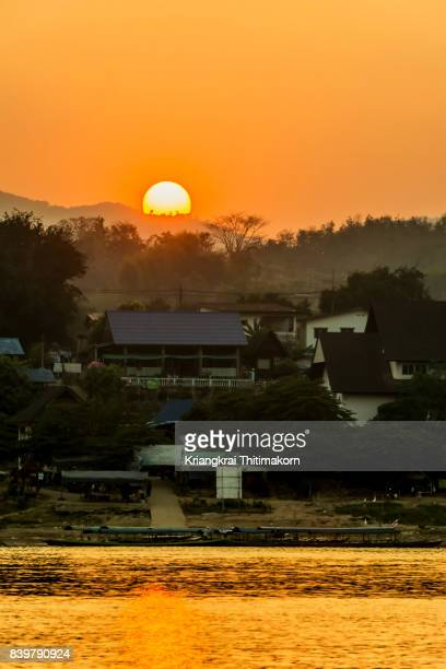 View of sunset by Mekong River in Bokeo province, Lao PDR.