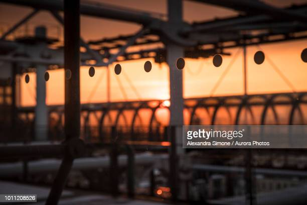 view of sunset from centre georges pompidou, paris, france - centre pompidou stock pictures, royalty-free photos & images