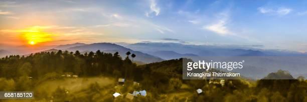 View of sunset from Nakarkot village, east of Kathmandu, Nepal.