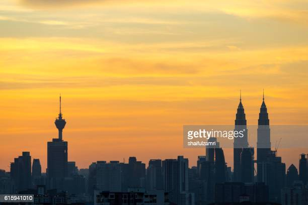 View of sunset in downtown Kuala Lumpur