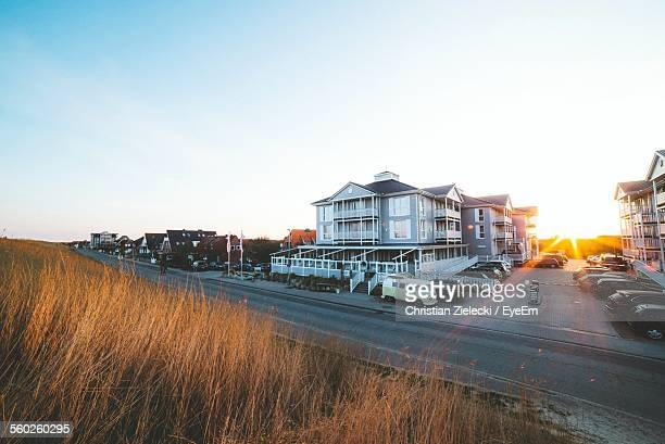 View Of Sunset Over Towns Houses
