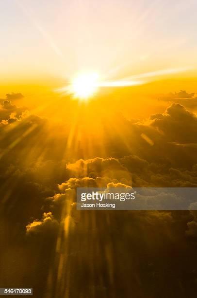 View of sunset through aircraft window