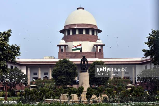 A view of Supreme Court building on February 12 2018 in New Delhi India The Supreme Court has restrained the Jammu and Kashmir Police from taking any...