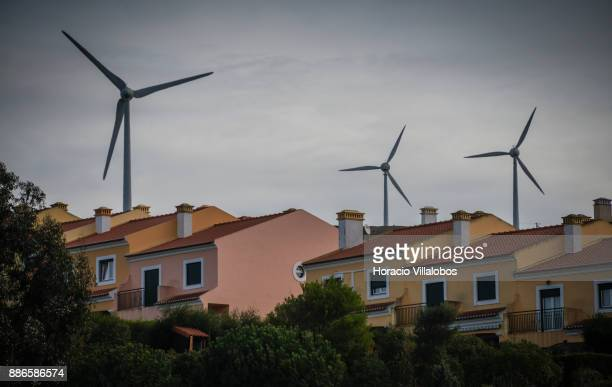 View of surrounding wind turbines at Dolce CampoReal Lisboa Hotel during Gastronomic FAM Tour on November 27 2017 in Torres Vedras Portugal...