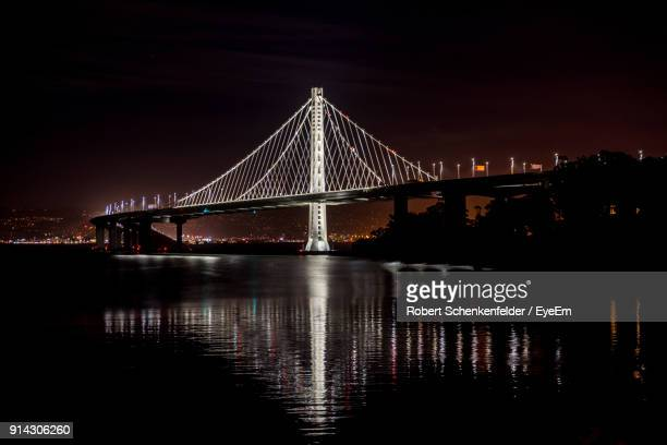 View Of Suspension Bridge At Night