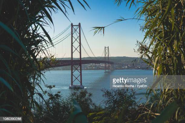 view of suspension bridge over sea - bahía fotografías e imágenes de stock