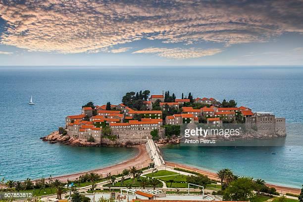 View of Sveti Stefan resort-island, Montenegro.
