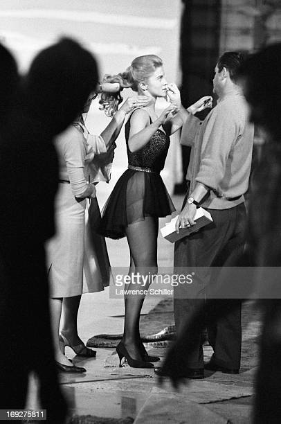 View of Swedishborn American actress AnnMargret along with unidentified crewmembers on set during the filming of 'Bye Bye Birdie' Los Angeles...