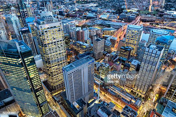 View of Sydney Business District at dusk