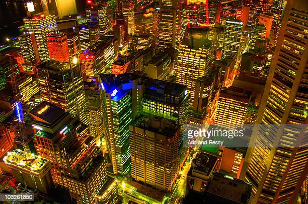View of Sydney Central Business District at night