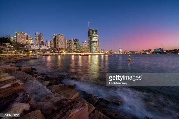 View of Sydney from Barangaroo park.