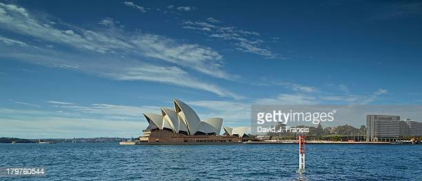 View of Sydney Opera House and the harbor from the promenade.