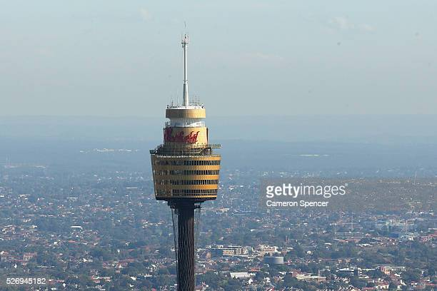 View of Sydney Tower from the Appliances Online blimp on April 28, 2016 in Sydney, Australia. The Appliances Online blimp is the only blimp currently...