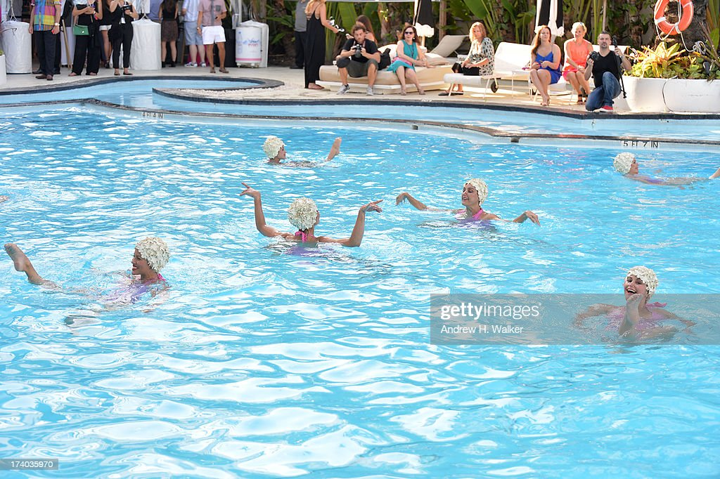 A view of Synchronized swimming at the Esther Williams cocktail reception during Mercedes-Benz Fashion Week Swim 2014 at The Raleigh on July 19, 2013 in Miami, Florida.