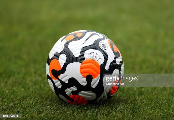 View of t he Nike Flight ball for the 2021 / 22 Premier League Season ahead of the Pre-Season Friendly between Stevenage and Crystal Palace at The...