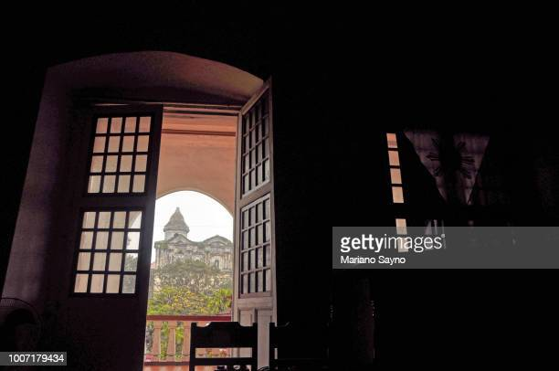 view of taal basilica from hall - taal foto e immagini stock