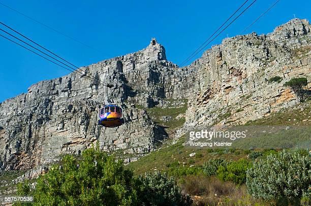 View of Table Mountain and the Cableway in Cape Town South Africa