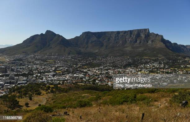 View of Table Mountain and the urban landscape of Cape Town in South Afrcia 10th January 2020