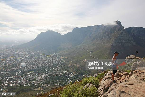 A view of Table Mountain from Lion's Head on January 6 2016 in Cape Town South Africa Lion's Head is known for spectacular views over both the city...