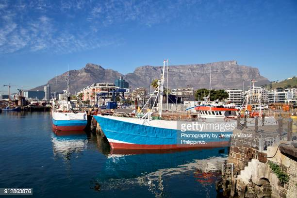 View of Table Mountain from Table Bay Harbour, Cape Town, South Africa