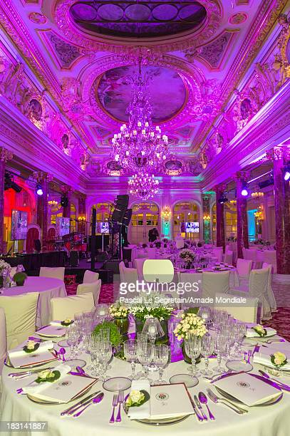 A view of tables and decorations in the Belle Epoque room at Hotel Hermitage prior to the AMADE MONDIALE 50th anniversary Gala Dinner on October 4...
