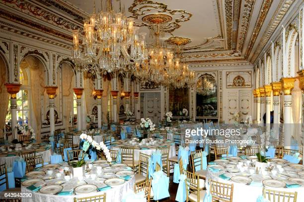 View of tables set for an unspecified luncheon in a ballroom at the MaraLago estate Palm Beach Florida February 13 2017