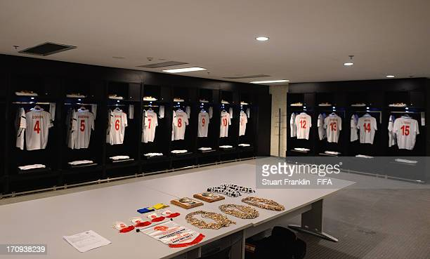 View of Tahiti kit necklaces and pennants in their dressing room prior to the FIFA Confederations Cup Brazil 2013 Group B match between Spain and...