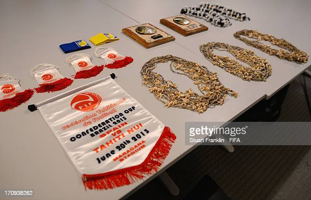 View of Tahiti necklaces and pennants in their dressing room prior to the FIFA Confederations Cup Brazil 2013 Group B match between Spain and Tahiti...