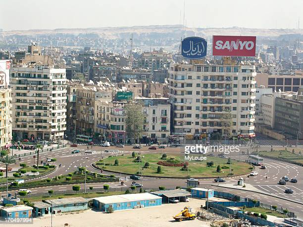 View Of Tahrir Square From The Top Of The Hilton Hotel In Downtown Cairo, Egypt.