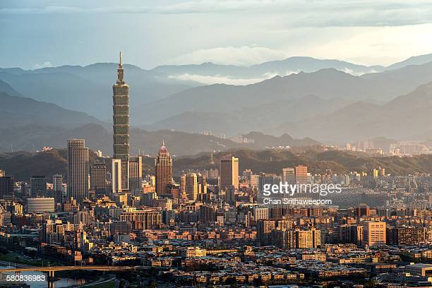view of taipei city - taipei stock pictures, royalty-free photos & images