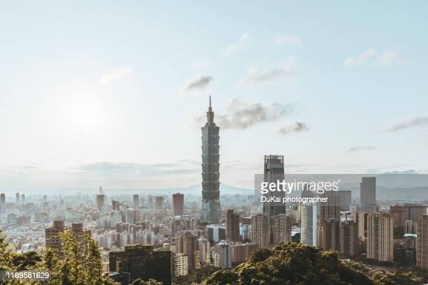 view of taipei city skyline - taipei stockfoto's en -beelden