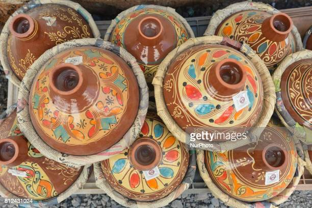 A view of Tajine's pots on display for sale seen in Rabat's city center On Friday June 30 in Rabat Morocco