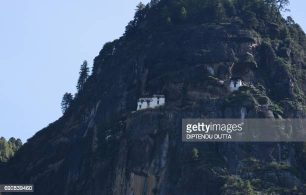 View of Taktsang Monastery during the tour of Japan's Princess Mako on the outskirts of Paro on her visit to Bhutan on June 6 2017 Princess Mako the...