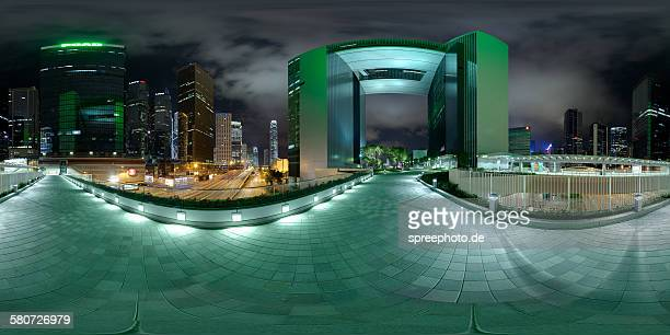 360° view of tall buildings in hong kong - images stock pictures, royalty-free photos & images