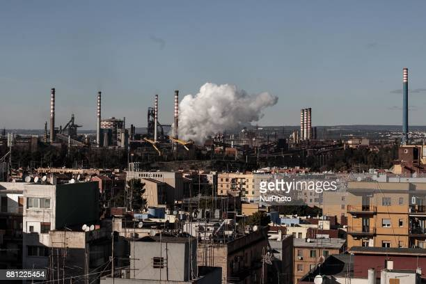 View of Tamburi District and Fabric Ilva in Taranto Italy on November 208 2017 On November 27 and 28 schools closed in the neighborhood closest to...