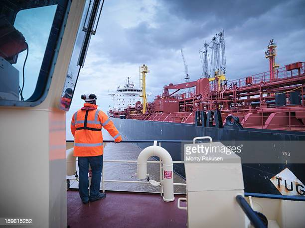 View of tanker as seen from tug