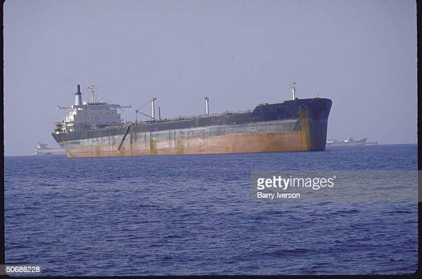 A view of tankers in the area a day after the Panamanian registered US owned vessel Texaco Caribbean was hit by an Iranian mine which blew a hole in...